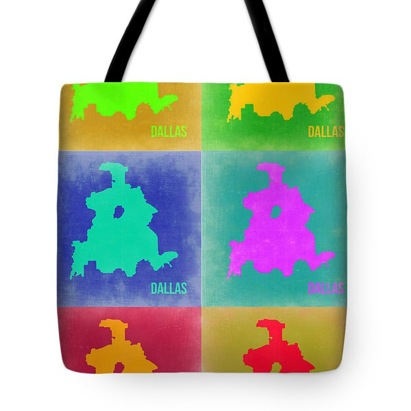 Dallas Pop Art Map 3 Tote Bag by Naxart Studio