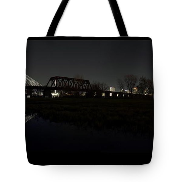 Dallas Skyline Hunt Bridge Color Tote Bag by Jonathan Davison