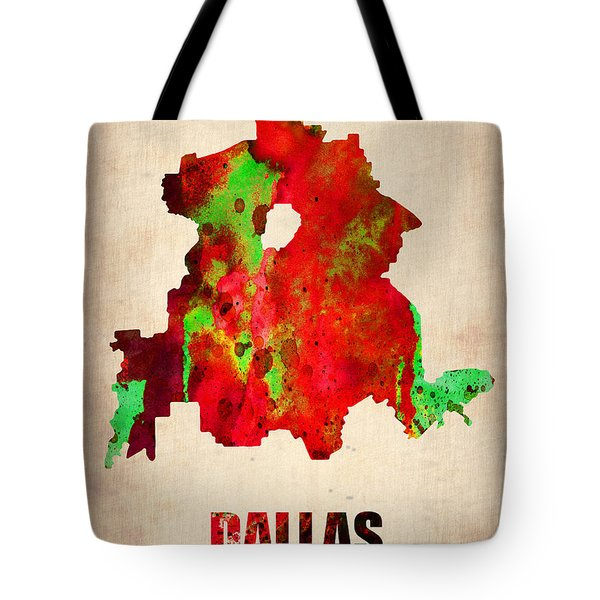Dallas Watercolor Map Tote Bag by Naxart Studio