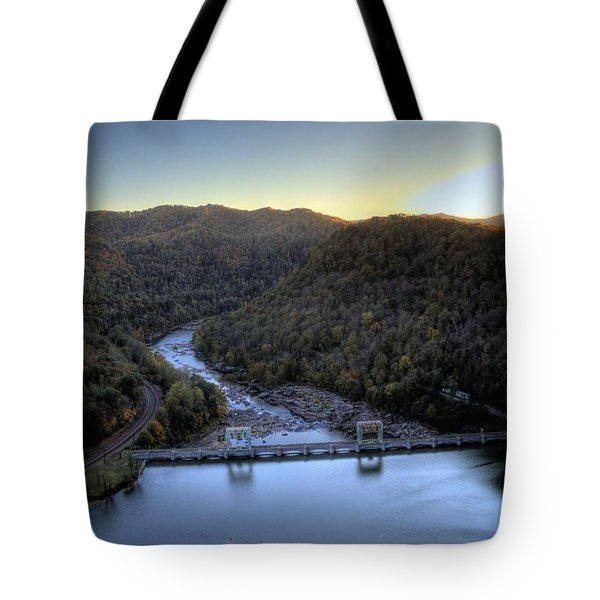 Tote Bag featuring the photograph Dam Across The River by Jonny D