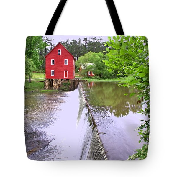 Dam At Starrs Mill Tote Bag by Gordon Elwell