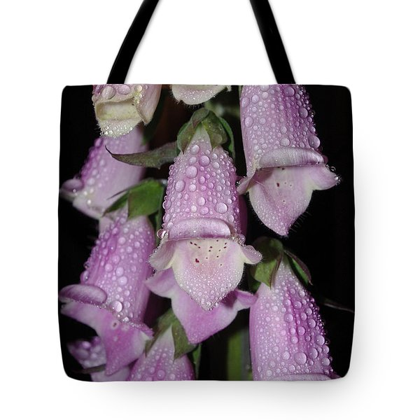 Tote Bag featuring the photograph Damp Foxglove by Adria Trail
