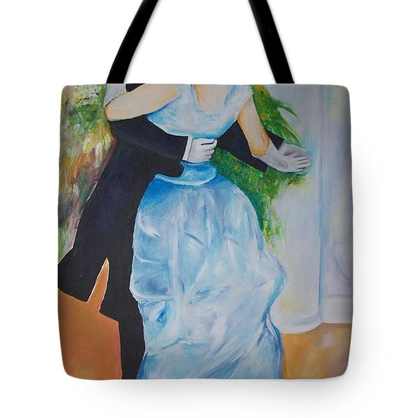 Tote Bag featuring the painting Dance In The City  by Eric  Schiabor