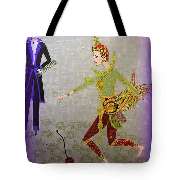 Tote Bag featuring the painting Dance Of A Nymph by Marie Schwarzer