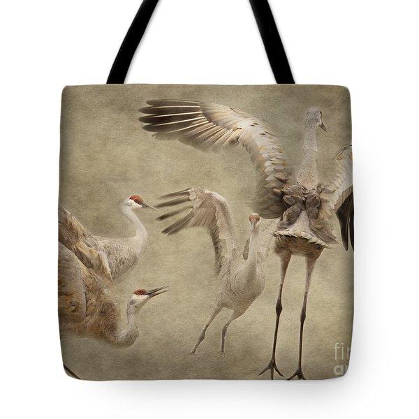 Dance Of The Sandhill Crane Tote Bag