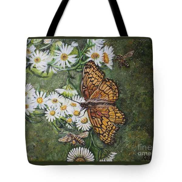 Tote Bag featuring the painting Dance With The Daisies by Kimberlee Baxter