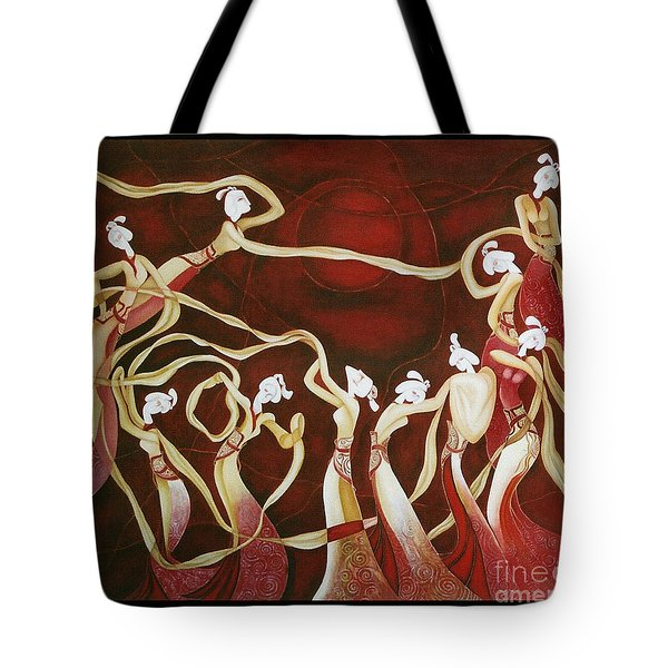 Tote Bag featuring the painting Dance With The Wind by Fei A