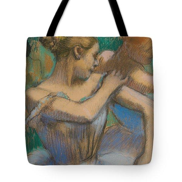 Dancer Adjusting Her Shoulder Tote Bag by Edgar Degas