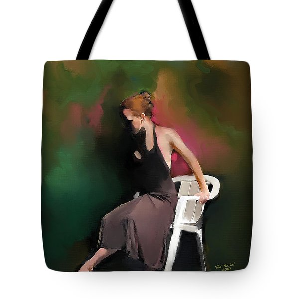 Tote Bag featuring the painting Dancer At Rest by Ted Azriel