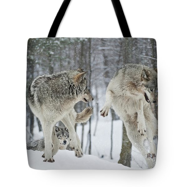 Tote Bag featuring the photograph Dances With Wolves by Wolves Only