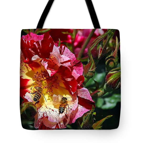 Tote Bag featuring the photograph Dancing Bees And Wild Roses by Absinthe Art By Michelle LeAnn Scott