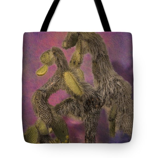 Dancing Cactus Pair In Galapagos Islands Tote Bag by Angela A Stanton