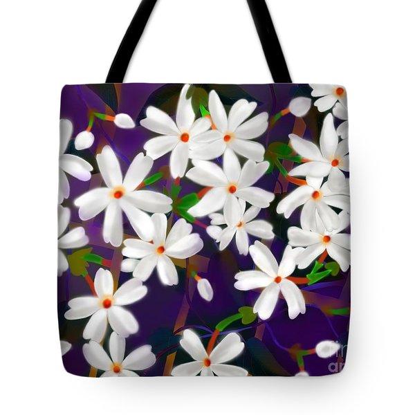Tote Bag featuring the digital art Dancing Coral Jasmines by Latha Gokuldas Panicker