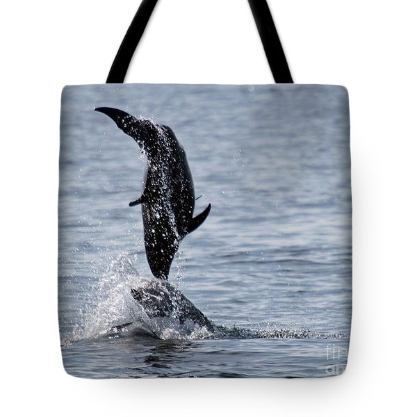 Dancing Dolphins Tote Bag by Bob Hislop