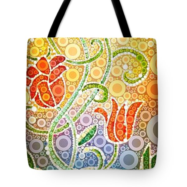 Dancing Flowers Tote Bag by Linda Bailey