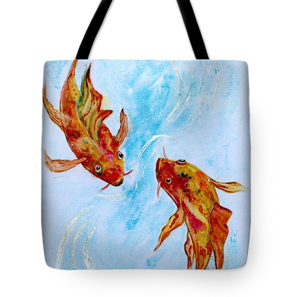 Tote Bag featuring the painting Dancing Koi Sold by Antonia Citrino