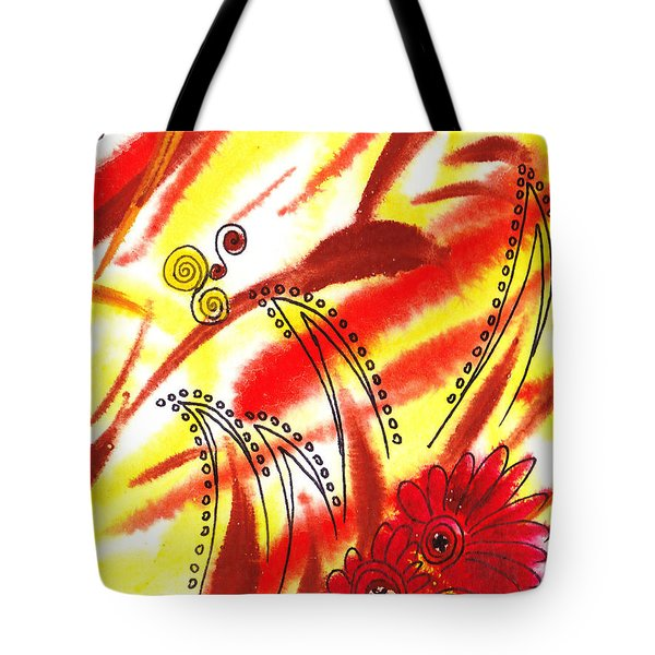 Dancing Lines And Flowers Abstract Tote Bag by Irina Sztukowski