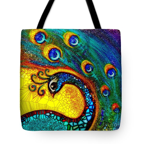 Tote Bag featuring the painting Dancing Peacock by Agata Lindquist