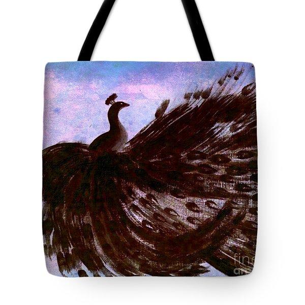 Dancing Peacock Blue Pink Wash Tote Bag by Anita Lewis