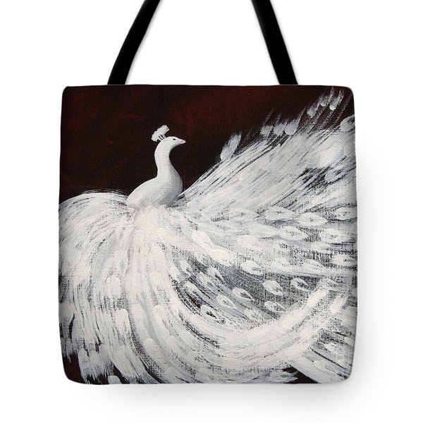 Dancing Peacock Burgundy Tote Bag