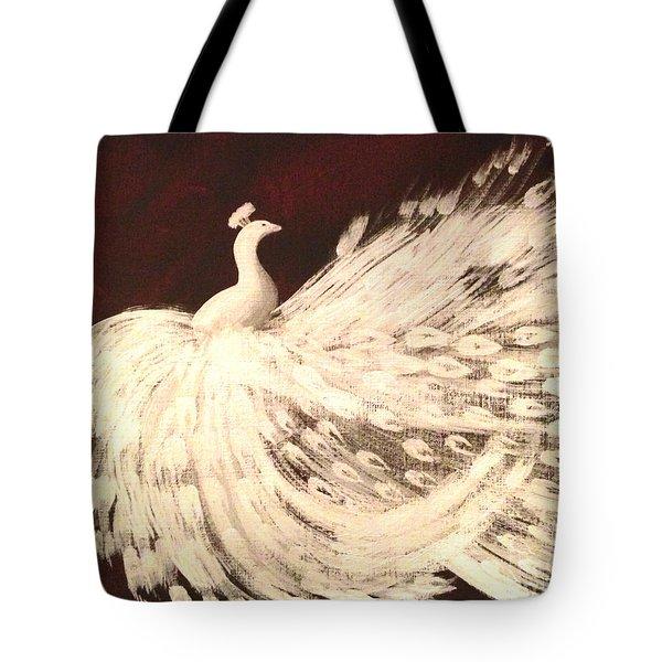Dancing Peacock Cream Tote Bag by Anita Lewis