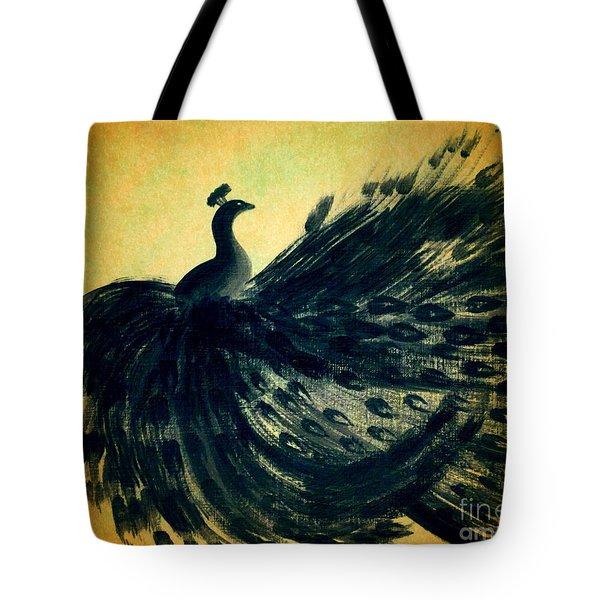 Dancing Peacock Gold Tote Bag by Anita Lewis