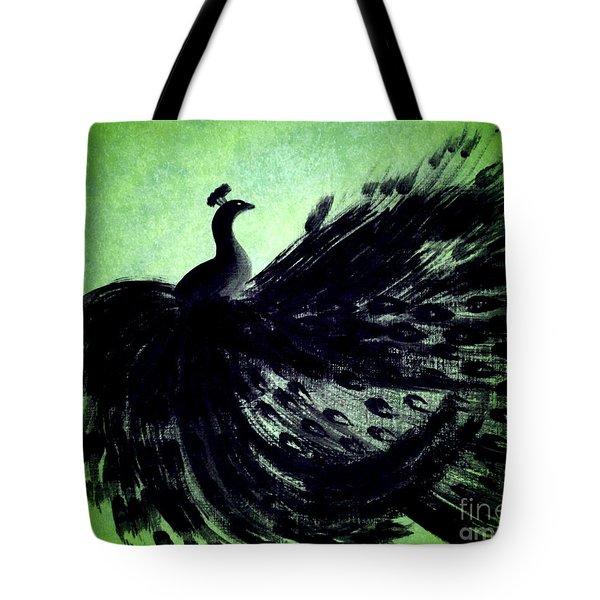 Dancing Peacock Green Tote Bag by Anita Lewis
