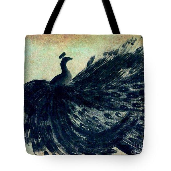 Dancing Peacock Mint Tote Bag by Anita Lewis