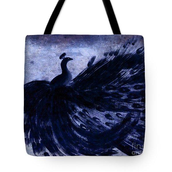 Dancing Peacock Navy Tote Bag by Anita Lewis