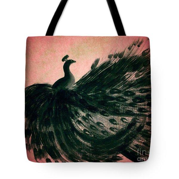 Dancing Peacock Pink Tote Bag by Anita Lewis