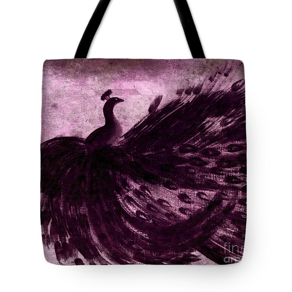 Dancing Peacock Plum Tote Bag