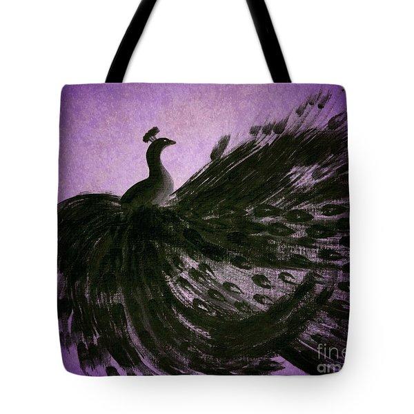 Dancing Peacock Vivid Purple Tote Bag by Anita Lewis