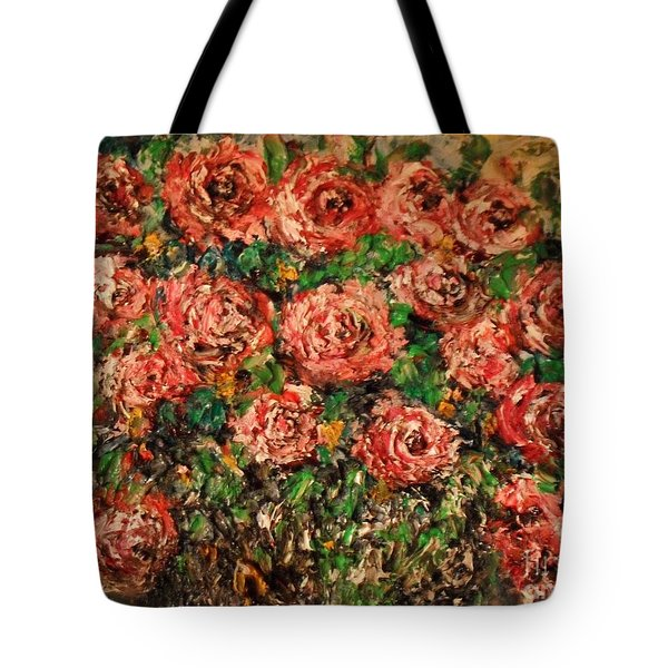 Tote Bag featuring the painting Dancing Red Roses by Laurie L