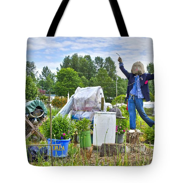 Dancing Scarecrow In The Garden Tote Bag by Maria Janicki