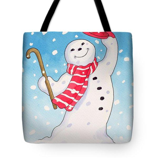 Dancing Snowman Tote Bag by Lavinia Hamer
