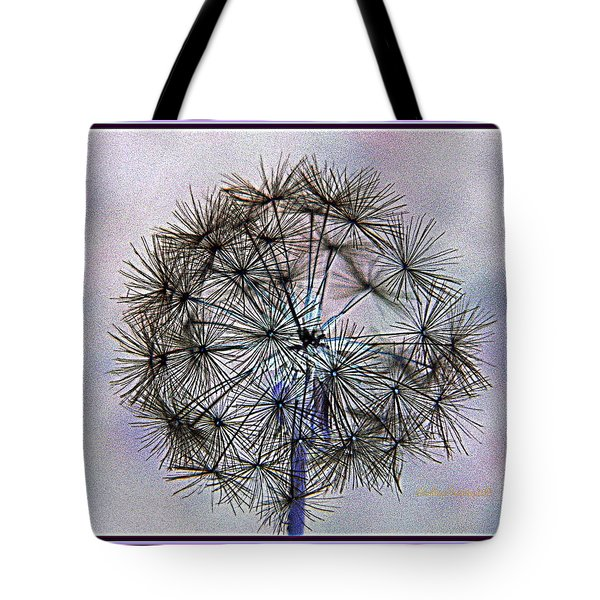 Tote Bag featuring the photograph Dandelion Blue And Purple by Kathy Barney