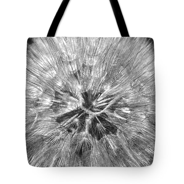Dandelion Fireworks In Black And White Tote Bag by Rona Black