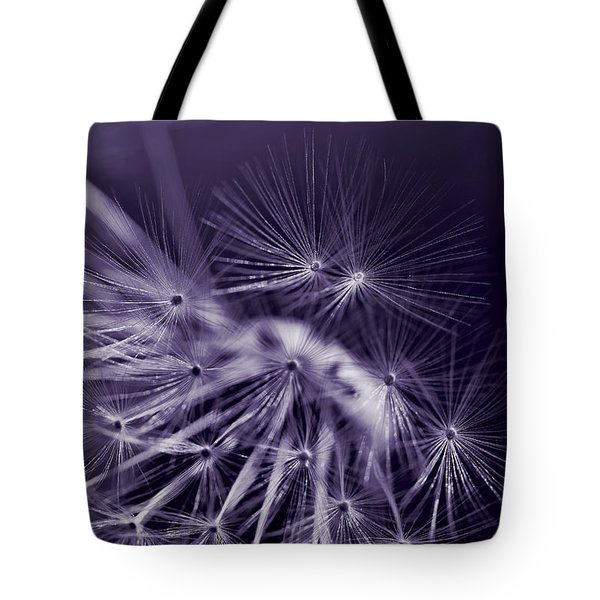 Dandelion Fly Away Dark Purple Tote Bag by Jennie Marie Schell