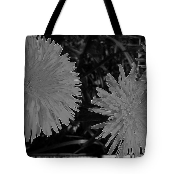 Tote Bag featuring the photograph Dandelion Weeds? B/w by Martin Howard