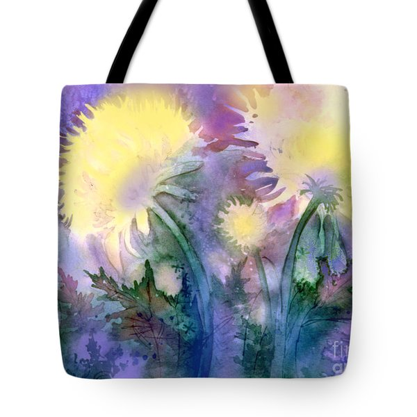 Tote Bag featuring the painting Dandelions by Teresa Ascone