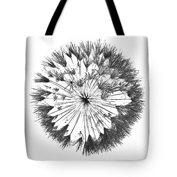 Tote Bag featuring the digital art Dandylion Black On White by Clayton Bruster