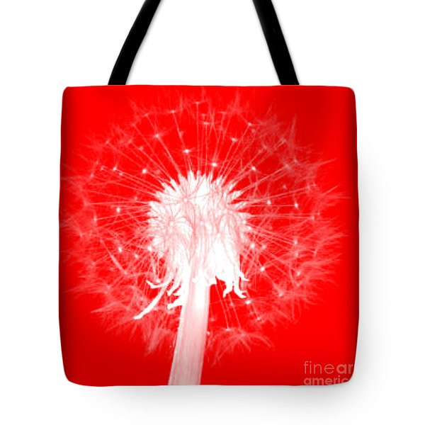 Tote Bag featuring the digital art Dandylion Red by Clayton Bruster