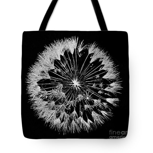 Tote Bag featuring the digital art Dandylion White On Black by Clayton Bruster