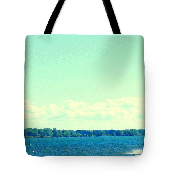 Dangerous Moonlight Red Crescent Kite Boarding Where Canal Meets Ocean Seascape Scene Carole Spandau Tote Bag by Carole Spandau