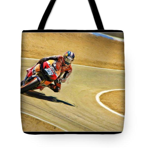 Dani Pedrosa Running Out Of Road Tote Bag