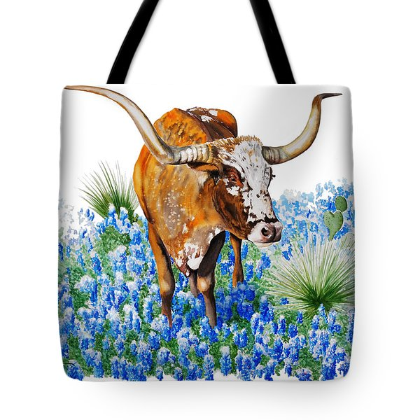 Da102 Longhorn And Bluebonnets Daniel Adams Tote Bag