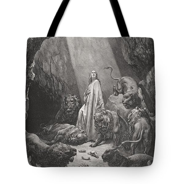 Daniel In The Den Of Lions Tote Bag by Gustave Dore