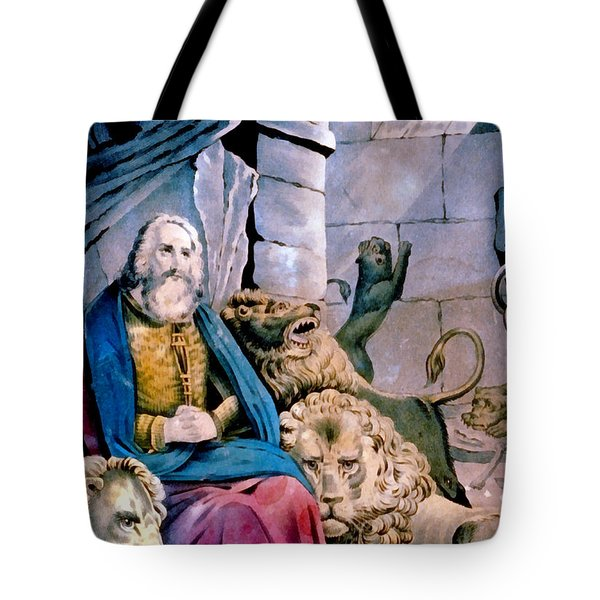 Daniel In The Lions Den Tote Bag by Currier and Ives