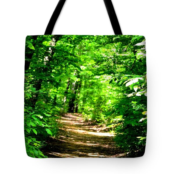 Dappled Sunlit Path In The Forest Tote Bag