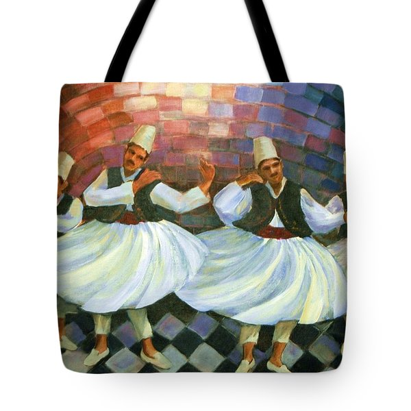 Tote Bag featuring the painting Daraweesh Dancing by Laila Awad Jamaleldin